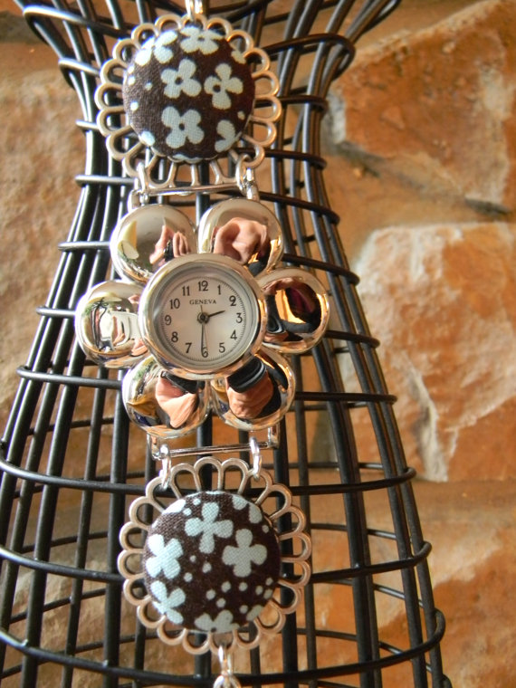 FREE SHIPPING - Flower Bracelet Button Watch Band
