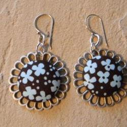 FREE SHIPPING - Flower Earrings with Button Covered Fabric CenterFrom SILJEWEL